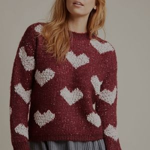 QED LONDON Valentine Hearts Cozy Red Sweater Small
